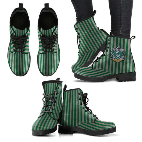 HP Slytherin Women's Leather Boots - Gifts For Reading Addicts