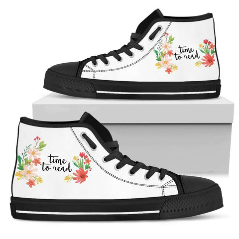 """Time to read""Bookish high top women's shoes - Gifts For Reading Addicts"