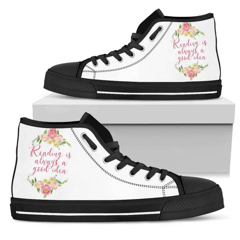 """Reading""Bookish high top women's shoes"