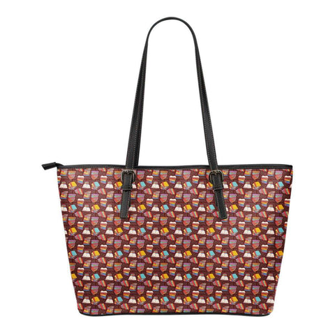 Book Pattern 3 Leather Totes (Small)-For Reading Addicts