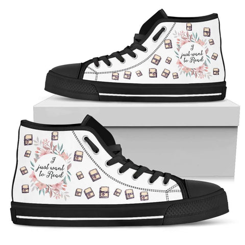 """Want to read""Bookish high top women's shoes"
