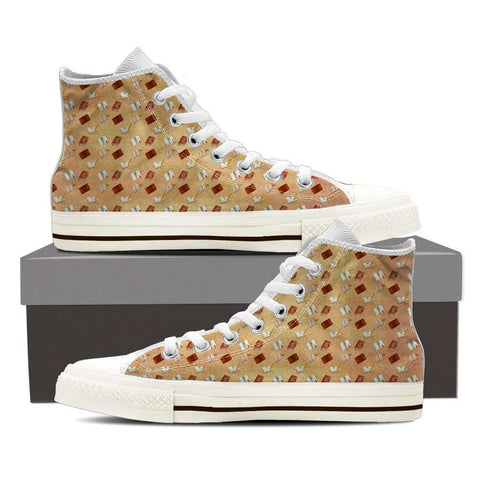 Women's High Top Bookish Pattern White-For Reading Addicts