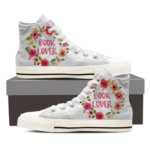 Women's High Top Floral White/Black - Gifts For Reading Addicts