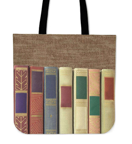 book spine canvas tote bag
