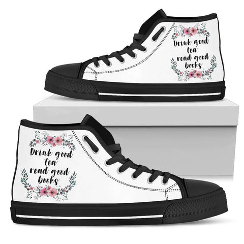 """Good books""Bookish high top women's shoes"
