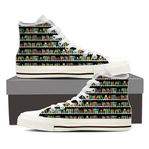 Bookshelves Women's High Top Shoes-For Reading Addicts