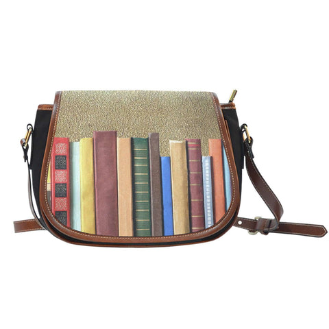 Book spine Saddle tote bag