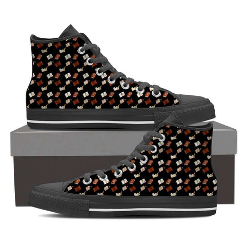 Women's High Top Bookish Pattern 3 White/Black - Gifts For Reading Addicts