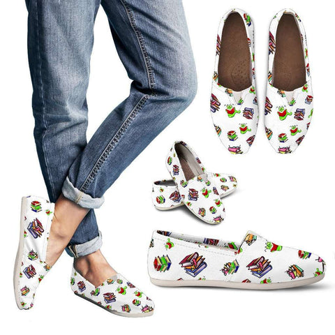 Bookworm Pattern Casual Women Shoes - Gifts For Reading Addicts