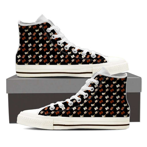 Women's High Top Bookish Pattern 3 White/Black-For Reading Addicts
