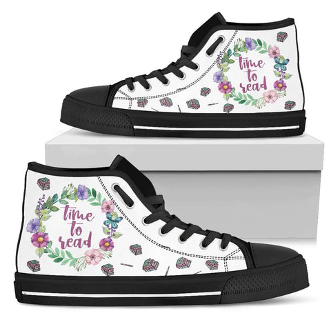 """Time to read""Bookish high top women's shoes"