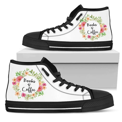 """Books & Coffee""Bookish high top women's shoes - Gifts For Reading Addicts"