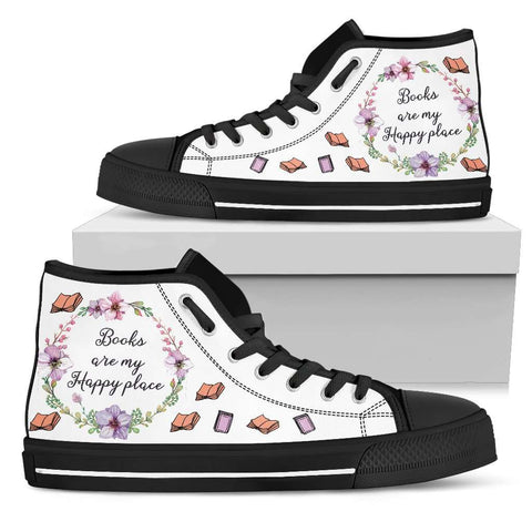 """My happy place""Bookish high top women's shoes"