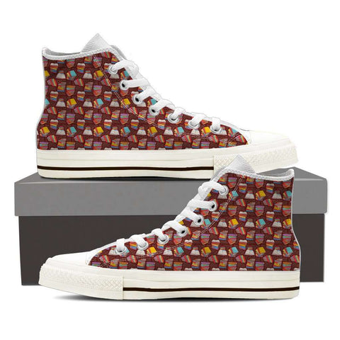 Women's High Top Bookish Pattern 2 White/Black - Gifts For Reading Addicts