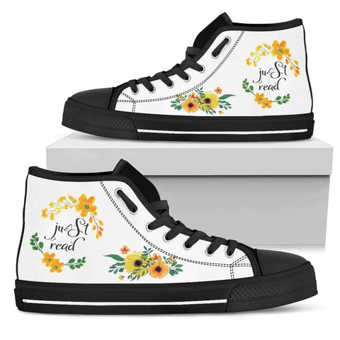 """Just read""Bookish high top women's shoes"