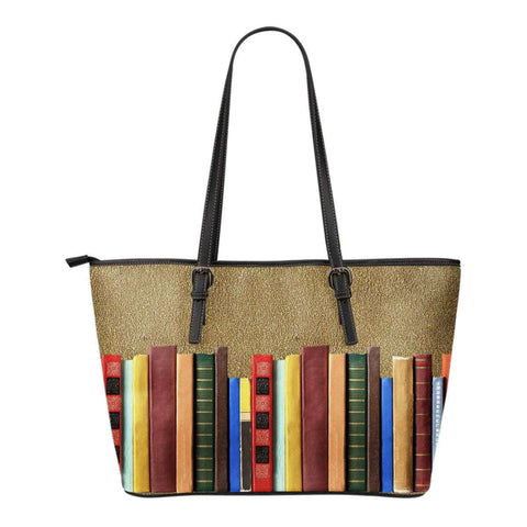 Book spine leather tote bag
