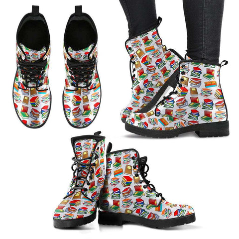 Book Pattern Women's Leather Boots