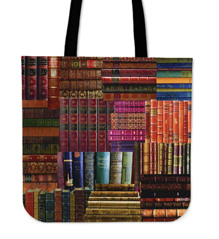 Book Spines Totes red-For Reading Addicts