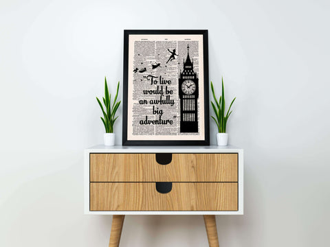 "''An awfully big adventure""peter pan vintage dictionary poster"