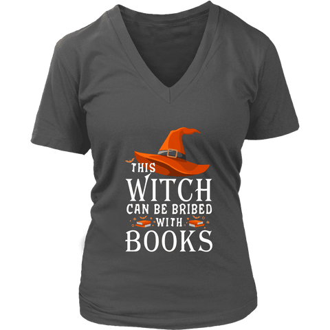 """Bribed With Books"" V-neck Tshirt"