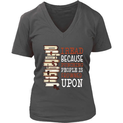 """I Read"" V-neck Tshirt - Gifts For Reading Addicts"