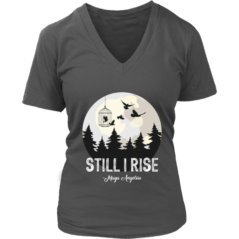 """Still I Rise"" V-neck Tshirt - Gifts For Reading Addicts"