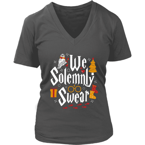 """We Solemnly Swear"" V-neck Tshirt - Gifts For Reading Addicts"