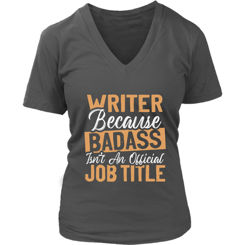 """badass isn't an official job title"" V-neck Tshirt - Gifts For Reading Addicts"