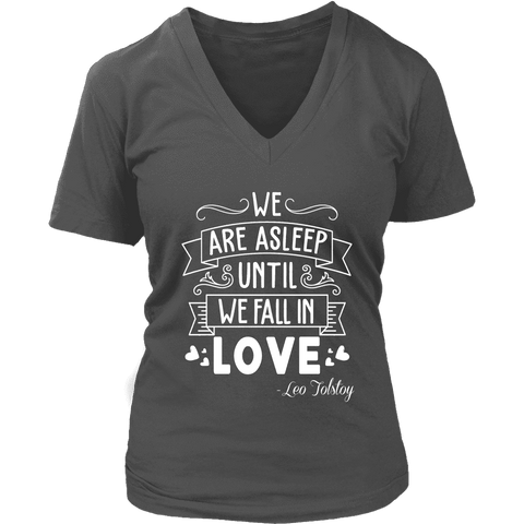 """We fall in love"" V-neck Tshirt - Gifts For Reading Addicts"