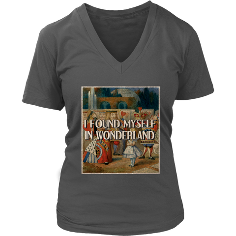 """I Found Myself In Wonderland"" V-neck Tshirt - Gifts For Reading Addicts"