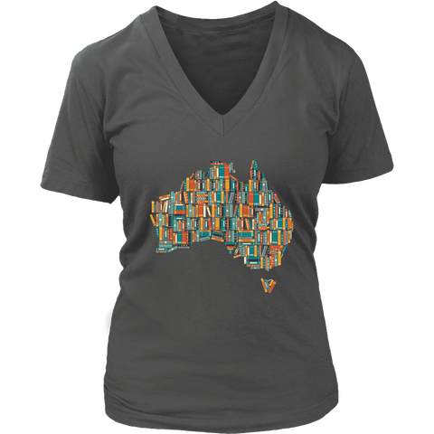 """Australia Bookish Map"" V-neck Tshirt"