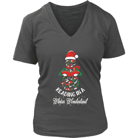 """Reading in a winter wonderland"" V-neck Tshirt - Gifts For Reading Addicts"