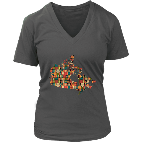"""Canada Bookish Map"" V-neck Tshirt"