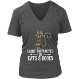 """Cats and books"" V-neck Tshirt - Gifts For Reading Addicts"