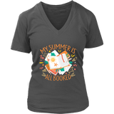 """My Summer Is All Booked"" V-neck Tshirt - Gifts For Reading Addicts"