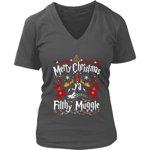 """Ya Filthy Muggle"" V-neck Tshirt - Gifts For Reading Addicts"