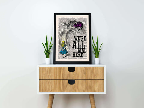 """We're all mad here""Alice in wonderland vintage dictionary poster"