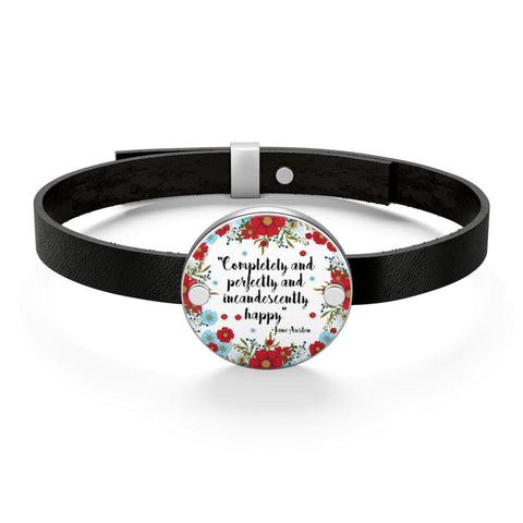Jane Austen Quote Leather Bracelet - Gifts For Reading Addicts