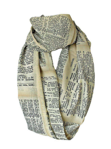 Dictionary Pages Infinity Scarf Gift For Her Handmade Limited Edition - Gifts For Reading Addicts
