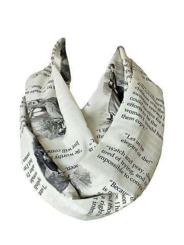 Louisa May Alcott Little Women Book infinity scarf Handmade Limited Edition - Gifts For Reading Addicts