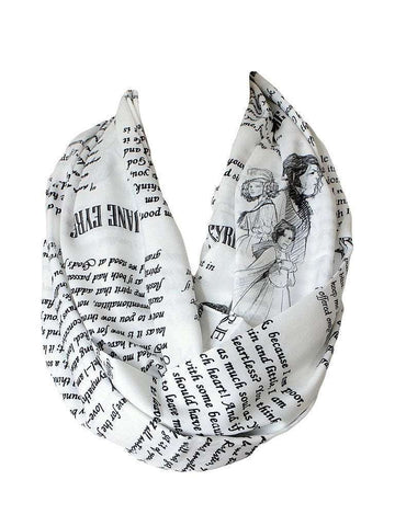 Charlotte Bronte Jane Eyre Book Infinity Scarf Handmade Limited Edition - Gifts For Reading Addicts