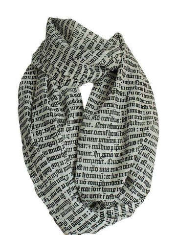 Gothic Letter Infinity Scarf Book Lover Gift Handmade Limited Edition - Gifts For Reading Addicts