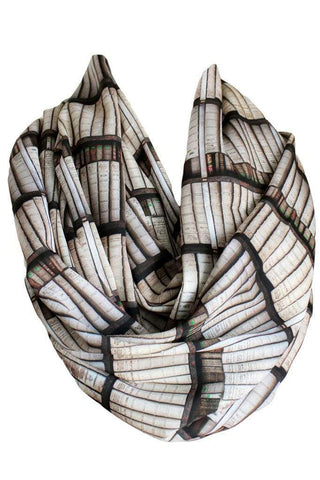 Light Brown Bookshelf Infinity Scarf Gift For Her Handmade Limited Edition - Gifts For Reading Addicts