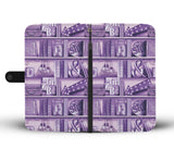 """book pattern""purple wallet case"