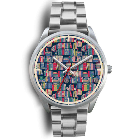 """Book pattern""silver watch - Gifts For Reading Addicts"