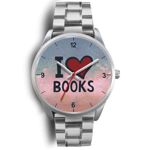"""I love books""silver watch - Gifts For Reading Addicts"