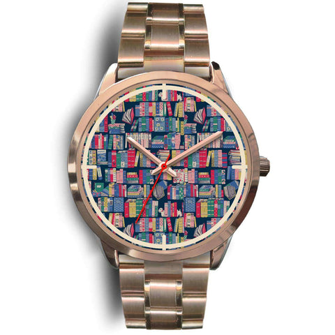 """Book pattern""rose gold watch"