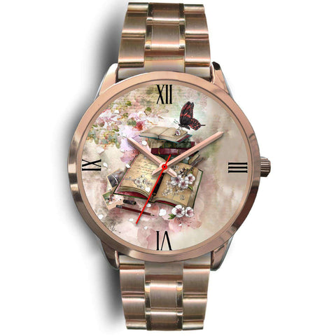 Rose gold bookish watch