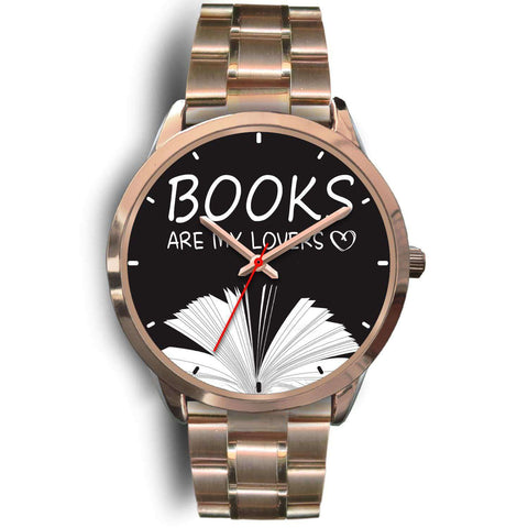 """Books are my lovers""rose gold watch"