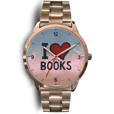"""I love books""Rose gold watch - Gifts For Reading Addicts"